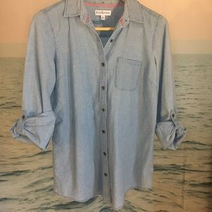 Long sleeve jean button up shirt size Small